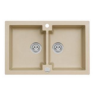 Einbau Spüle Mojito 160 für 80er Axigranit Doppelbecken Küchenspüle 79 x 50 cm (Axis Beige)