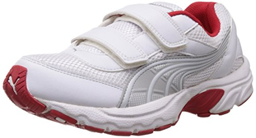 Puma Unisex Atom V Jr DP White, Puma Silver and Red Indian Sports Shoes - 4C UK