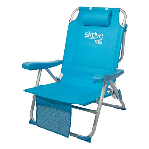 Aktive 53983 - Sedia a Zaino Pieghevole in Alluminio Beach 64x63x82 cm - 5 Posizioni