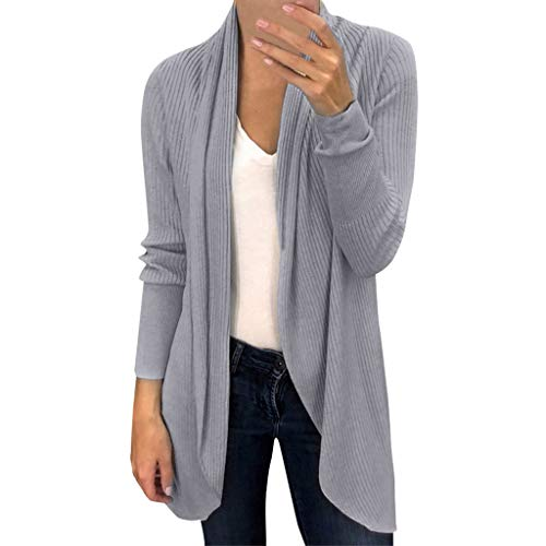 MRULIC Frauen Winter Baggy Cardigan Coat Damen Lange Chunky Strick Oversized Pullover Leichte Jacke(Grau,EU-34/CN-S)