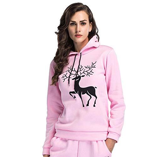 TianWlio Damen Hoodie Frauen Mode Printed Christmas Deer Langarm mit Kapuze Lose Bluse Casual Tops