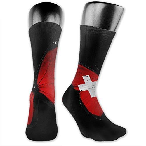 Crazy Sport Socke (YudoHong socks Tonga Flag Butterfly Unisex Casual Crew Socken Daily Sports Socken crazy Socken)