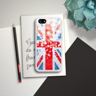 Apple iPhone 5 Housse étui coque protection Grande-Bretagne Grande-Bretagne Paillettes Housse en silicone blanc