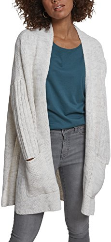 Urban Classics Damen Strickjacke Ladies Oversized Cardigan, Mehrfarbig (Wht/Gry 230), Large