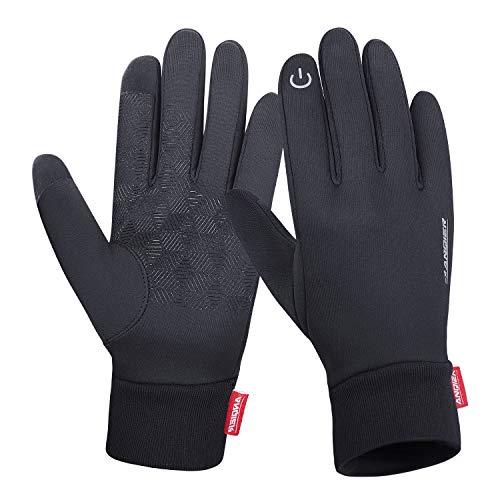 coskefy Winterhandschuhe Warm Verdickt Winddicht Rutschfest Touchscreen Vollfinger Arbeit Winter Gloves Motorrad Radfahren Camping Wandern Bergsteigen Reiten Laufen Ski Handschuh (Schwarz-A,L) -