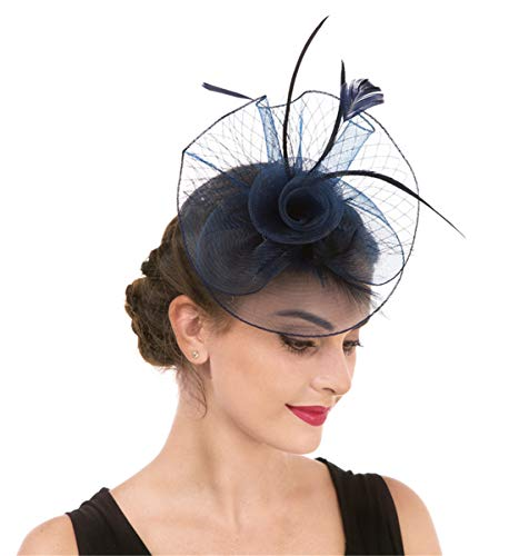 Lucky Leaf Women Girl Fascinators Hair Clip Hairpin Hat Feather Cocktail Wedding Tea Party Hat (2-Marineblau)