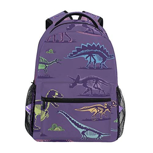 Ahomy Rucksack mit niedlichem Dinosaurier-Skelett und violettem Hintergrund, - Leben Größe Skelett Halloween