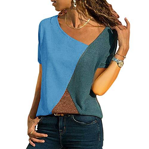 UPhitnis OberteileDamen Tunika Tops T-Shirt Bluse Damen Casual Patchwork Farbblock Oberteil Asymmetrischer V-Ausschnitt Tunika T-Shirt -