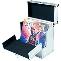 "Retro Musique Aluminium 12"" Vinyl Record LP Storage Case with unique folding front flap for better access to your LPs"