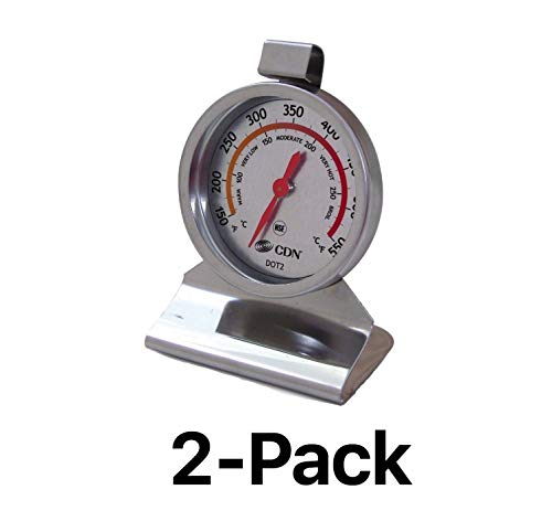 CDN High Heat Oven Thermometer Temperature Test Kitchen Stainless Steel (2-Pack) -