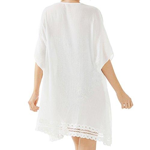 SiDiOU Group Frauen V-Ausschnitt lose übergroßen Strand Bikini Cover Ups Style 5-Weiß