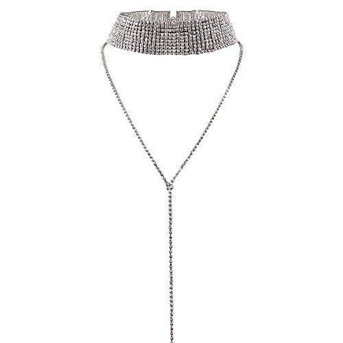 Sasairy Damen Glitzer Halskette Choker mit Strass Elegant Halsketten Punk Gothic Halsband Lange Kette Anhänger Halskette Silber