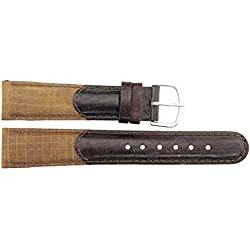 Watch Strap in Brown Leather - 18mm - - buckle in Silver stainless steel - B18BroItr38S