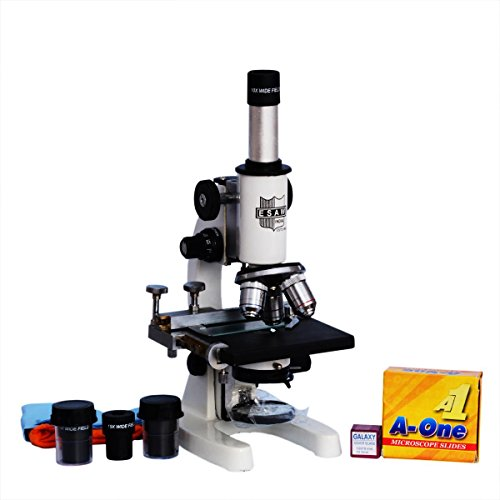 India Esaw Mm-01 E.S.A.W Medical Microscope With 50 Blank Slides And Cover Slips (Contains 10X,45X And 100X Oil Immersion Objectice, 10X And 15X Wf Eye-Piece)