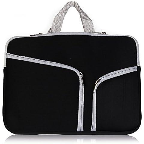 TECOOL® Cremallera Neopreno Laptop Notebook Ultrabook Manga Caso con TECOOL® Mouse Pad para MacBook Pro 15