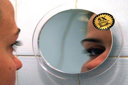 Lupa-Specchio con ventose, ingrandimento 5x, diametro 15cm