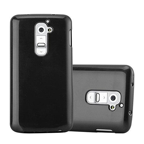 Cadorabo Hülle für LG G2 - Hülle in SCHWARZ – Handyhülle aus TPU Silikon in gebürsteter Edelstahloptik (Brushed) Silikonhülle Schutzhülle Soft Back Cover Case Bumper