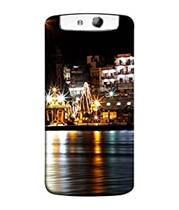 PrintVisa Designer Back Case Cover for Oppo N1 (The Holy Ganga Flowing By The City Side)