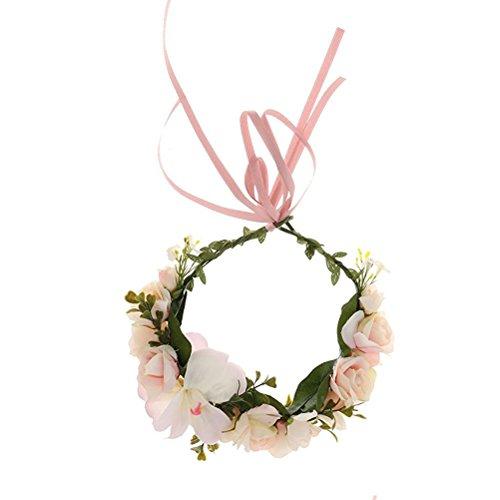 ULTNICE Kranz Blütenkopf Band Hochzeit Stirnbänder Krone Blumengirlande Mädchen Haarschmuck für Hochzeit Festival (hellrosa) - Floral Damen Hut Charme