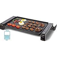 2 in 1 Tischgrill | Elektrogrill | Partygrill | Brat & Grillplatte | Grill BBQ | 2000 Watt Cool Touch Griffe |