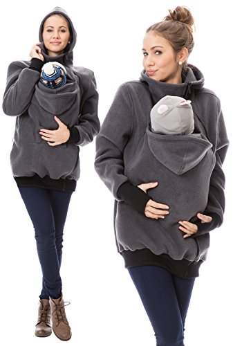 GoFuture Damen Tragejacke für Mama und Baby Känguru Klassiker VIVA GF2301 Graphit