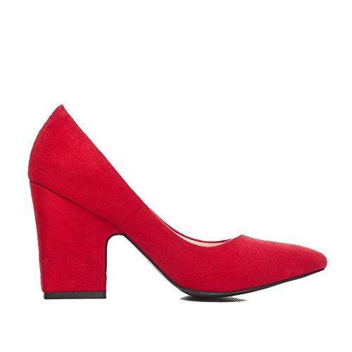 AgooLar Damen Ziehen Auf Hoher Absatz Mattglasbirne Rein Quadratisch Zehe Pumps Schuhe Rot