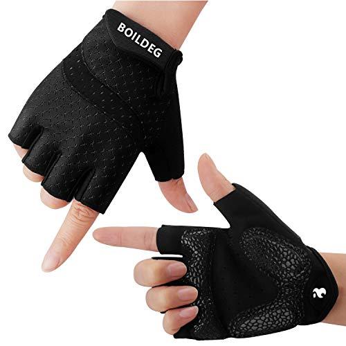 boildeg Fahrradhandschuhe Fingerlos Fitness Handschuhe Atmungsaktiv Rutschfestes Stoßdämpfende Radsporthandschuhe für MTB Fitness Damen und Herren (SCHWARZ, M)