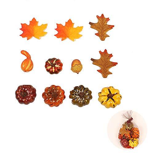 FGASAD Künstliche Mini-Kürbisse, künstliche Ahornblätter, Set künstliches Gemüse für Halloween, Erntedankfest, Herbstdekoration, PVC, a1, 15 cm