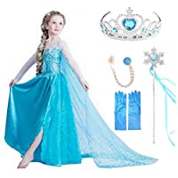 VanStar Snow Queen Dress Girls Party Cosplay Girl Clothing Snow Queen Birthday Princess Dress Kids Costume Blue Costume With Accessory Set (3-4 year)