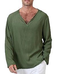 Sommer Herren T-Shirt Goosuny Hippie Baumwolle Leinen Hemd Casual  Longsleeve V-Ausschnitt Langarmshirt d507e8668d