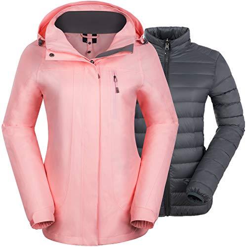 Felokont Veste de Ski d'hiver 3 en 1 Imperméable Coupe-Vent pour Femmes Manteau de Neige D'extérieur avec Doudoune Détachable Rose Corail/XL