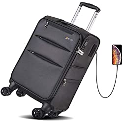 REYLEO Softside Bagage, Valise souple 8 roues USB, Valise avec Serrure TSA, Bagage cabine 55cm, 37L, Noir