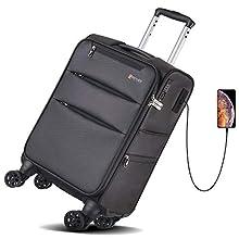 REYLEO 20 Zoll Handgepäck Koffer 8-Rad-Reisekoffer mit USB-Ladeanschluss und TSA-Schloss - (55 X 37 X 20CM - 35L) - LUG20B
