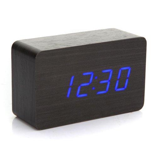 SODIAL (R) Moderno Legno orologio Digitale LED blu USB / AAA calendario sveglia termometro Nuovo