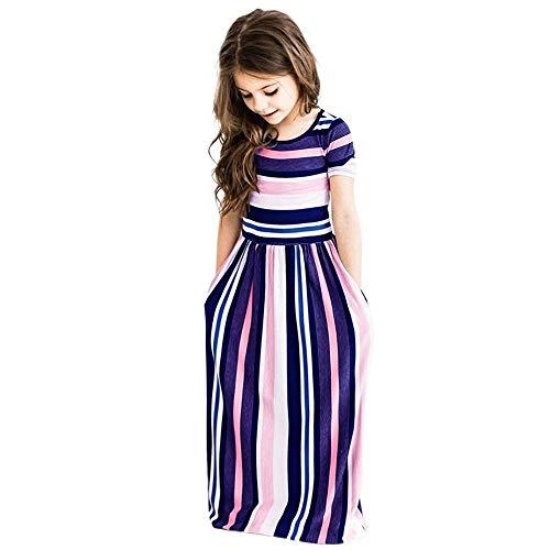 MOIKA Baby Mädchen Kleider, (2-8 Jahre) Kleinkind Baby Mädchen Gestreiftes Kurzarm mit Tasche Langes Kleid Kinder Party Beachwear Kleider Outfits (7-jährige Kleider Mädchen Für)