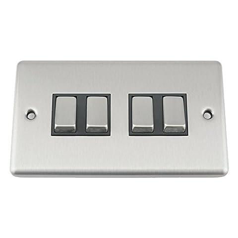 A5Interrupteur–Quad 4Gang 2Way–Satin Chrome brossé–Style Classique Insert Noir en Métal Interrupteur à