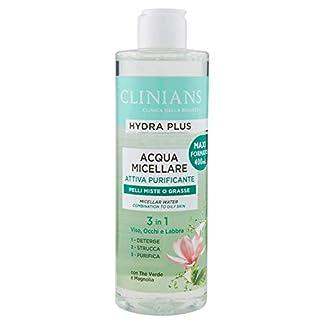 CLINIANS HYDRA PLUS agua purificadora micelar activa para pieles mixtas o grasas, con Té Verde y Magnolia, 400 mL