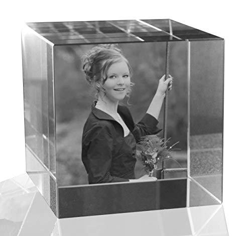 VIP-LASER 2D Gravur Glas Kristall Würfel mit dem Foto Deiner Freundin. Dein Wunschfoto für die Ewigkeit Mitten in Glas! Groesse XL = 60x60x60mm - Glas-cube-bild