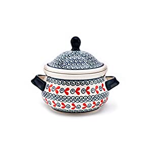 Hand-Decorated Polish Pottery Marmelade Pot/Soup Mug 0.45 Litre/Wax Honey Pot Design 1138