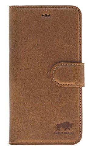Solo Pelle Iphone X abnehmbare Lederhülle (2in1) inkl. Kartenfächer für das original Iphone X in Schwarz Cognac Braun