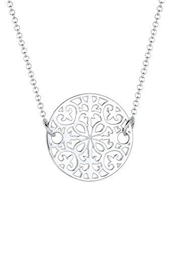 Elli Damen Halskette mit Ornament Symbol Münze Orientalisch in 925 Sterling Silber 45 cm lang