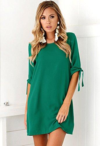 Yidarton Donna Vestito Manica Lunga Rotondo Collo Vestiti A-Line Eleganti Corto Abito Verde