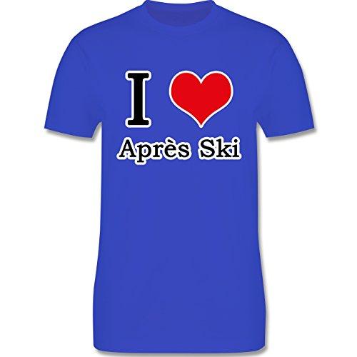 Après Ski - I love Après Ski weiße Kontur - Herren Premium T-Shirt Royalblau