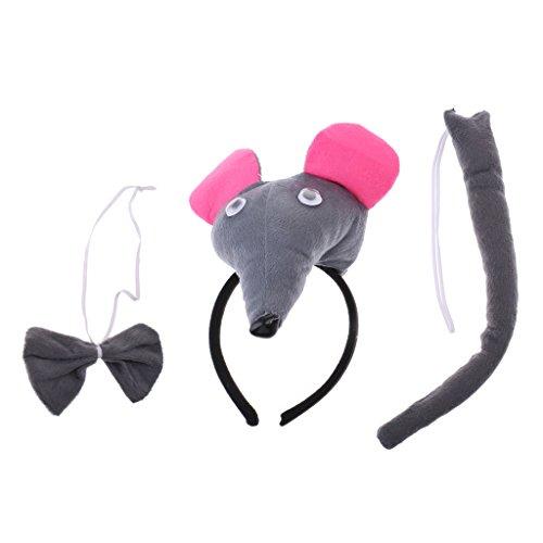 Gazechimp 3pcs Plüsch Süße Maus Ohren Haarreif, Fliege und Schwanz Set für Halloween Cosplay Party - Grau (Halloween-maus-ohren)