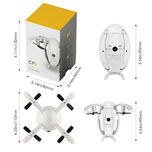 olding RC Quadcopter 6-Achsen-Gyro mit 2 Megapixel Echtzeit-Kamera Ei Form Transformable Drohne RTF Quadcopter (Weiß) (Ei In Einem Frame)