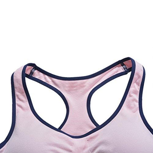 Encounter Femme Soutien-gorge Sport Bra Lingerie Brassière Push up Fitness Yoga Course Rose