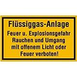 Schild: Flüssiggas-Anlage Feuer und Explosionsgefahr .... 15 x 25cm PVC