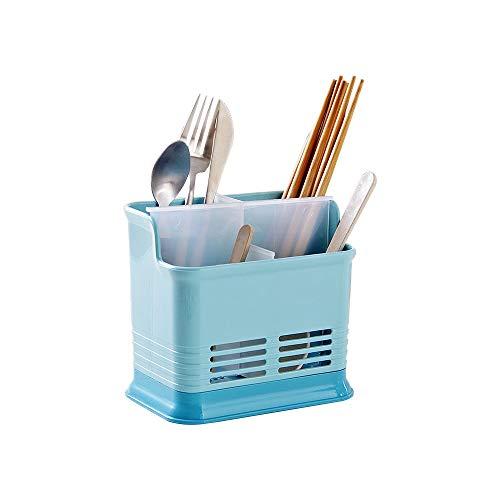 Baffect Tenedor plástico del estante del dren de los cubiertos con 4 compartimiento,Tenedor de utensilios de cocina Desagüe Cubiertos Tenedor Escurridor Plato Rack Titular para cuchara Cuchillo(azul)