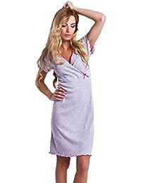 DN de Nightwear Mujer premamá Camisón/Lactancia Camisa de noche de 100% algodón