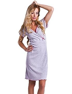 Camicia da notte per maternità e allattamento laterale per camicia colore grigio, 100% cotone, colore: blu cielo